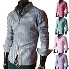 Hotsale Mens Free Ship Casual Checkered/Plaid Dress Shirt in 6 Colors 4 Size New