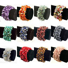 WHOLESALE/BULK 10 x WIDE GEMSTONE Beaded Stretch BRACELETS