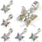Butterfly Silver CZ European Spacer Charm Bead For Bracelet Necklace