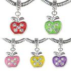 Wholesale Lot 10pcs Apple Crystal Silver Dangle European Charm Bead For Bracelet