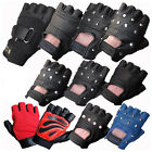 LEATHER FINGERLESS GLOVES BIKERS GYM DRIVING CYCLING WHEELCHAIR USERS PAINTBALL