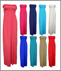 Womens Long Maxi Dress Boobtube Strapless Bandeau Sheering Sz 8-14 10 Colours