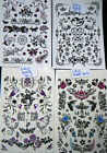1 x SHEET BLACK UNISEX ARTY DESIGNS BUTTERFLIES FLOWERS TEMPORARY TATTOOS UKSELL