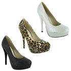 New Ladies Classic Court Stiletto High Heel Platform Sandals Size UK 3 4 5 6 7 8