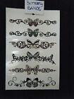 SHEET UNISEX GIRLS LADIES CELEBRITY TEMPORARY TATTOOS BLACK ARTY BUTTERFLY BANDS