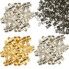 500pcs Silver/Golden/Dark Silver/Black Tone Tube Crimp End Spacer Beads 2mm