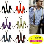 New Mens Suspenders solid Adjustable 6 Button hole Leather Fittings Braces BD7H