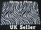 LARGE FURRY FABRIC WHITE ZEBRA PRINT CRAFT MOBILE SKIN DECAL STICKER 28cmx19cm