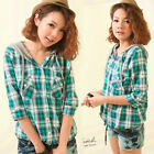 Casual Simple Womens Checked Shirt Hooded Drawstring Tops Girls Preppy Style