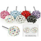 Pair of  Earring with Multi Crystal Ferido Ball Surgical Steel Stud 7 Colors H70