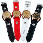 SH US Fashion Men Wrist Watch Leather Stylish Oversized Face 4 Colors Rose Gold