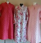 LADIES TRADITIONAL QUILTED BUTTON THROUGH LONG SLEEVE  DRESSING GOWNS