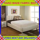 3ft6 Large Single FABRIC UPHOLSTERED BEDSTEAD + MATTRESS CREAM/BROWN/BEIGE/GREY