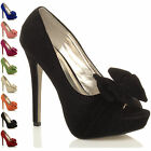 WOMENS LADIES EVENING PLATFORM HIGH HEEL PEEP TOE BOW COURT SHOES PUMPS SIZE