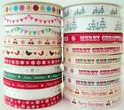 BY THE 25m ROLL - BERTIES BOWS PRINTED GROSGRAIN RIBBON christmas BUNTING