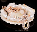 New Fashion Oval Pearl Rhinestones Crystal Drop Link Chain Bracelet 2 color