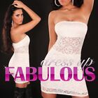 NEW SEXY SIZE 6-8 S WOMEN'S PARTY EVENING LACE DRESS HOT CLUBWEAR TOP WHITE PINK