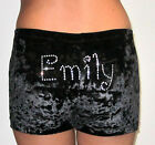 NEW PERSONALIZED Velvet Shorts with crystals gymnastics dance tumble ALL SIZES