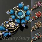 ADD'L Item FREE SHIPPING antiqued rhinestone crystals peacock hair clamp clip
