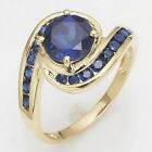 Size 6,7,8,9 Jewelry Blue Sapphire Woman's 10KT Yellow Gold Filled Ring Gift