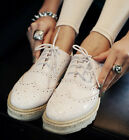 Ladies Sweet Shiny Patent Lace Up Platform Brogue Oxford Creepers Shoes #A05