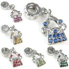 Wholesale Lot 10pcs Purse Handbag Silver CZ European Charm Beads For Bracelet