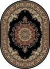 BLACK traditional ORIENTAL area RUG medallion FLORAL red IVORY persian CARPET