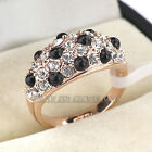 R3084 Black Glaze Fashion Ring 18K GP use Swarovski Crystal