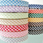 25m ROLL GINGHAM - 18mm - QUALITY EUROPEAN  BIAS BINDING folded trim ALL COLOURS