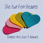 Die Cut Felt Hearts - 6 sizes - 68 colours - Packs of 5, 10, 25, 50 and 100