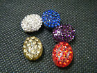 5 x OVAL RED BLUE DIAMONTE SHAMBALLA RESIN RHINESTONE BEADS FRIENDSHIP BRACELETS