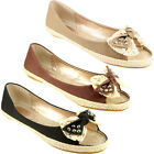 WOMENS FLAT ESPADRILLE FRONT BOW SHOES PUMPS NEW 3-8