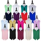 DQT Plain Solid Child's Vest Wedding Waistcoat Page Boy 2 to 14 Yrs + FREE Bow