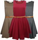 Women's Skater Dress Tan Waist Belt Scoop Neck in Wine Ladies Brand New Sz 8-14