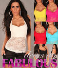 NEW SEXY WOMEN'S HALTER NECK LACE TOP SIZE 8-10 S/M PARTY CASUAL SHIRT WHITE RED