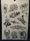 1x SHEET BLACK UNISEX ARTY CELTIC TIGER BUTTERFLY BAND DESIGNS TEMPORARY TATTOOS