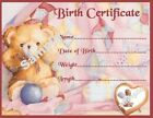 "PINK TEDDY BIRTH CERTIFICATE/CERTIFICATES 4 REBORN FAKE BABY approx 7""x 5"""