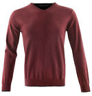 Mens Guide London Burgandy Grey V Neck 100% Cotton Jumper Knitwear Free Uk Post