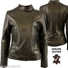 Aviatrix Ladies Genuine Leather Metalic Gold Biker Style Jacket ST-16