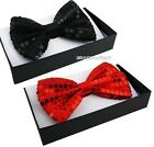 ADULT DELUXE SEQUIN DICKIE BOW PARTY FANCY DRESS COSTUME RED BLACK TIE