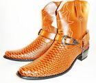 Mens Leather Italian snake skin pattern Brown cowboy boots in size 7,9,10,11,12