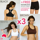 3pcs Set Seamless Sports Bra S M L XL XXL XXXL Comfort Yoga Gym Fitness Bra