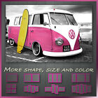 ' VW Retro Camper Pink Van With Surfing Board ' Canvas Wall Art Deco