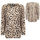 Ladies Long Sleeve Leopard Print Sweater Womens Jumper Size S/M - M/L