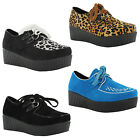 New Ladies Lace Up Flat Creepers Punk Platform Brothel Goth Shoes UK 3 4 5 6 7 8