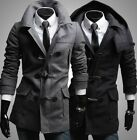 Mens Casual Slim Detachable Hood Toggle Trench Coat Jacket Black/Grey M-XXL #F13
