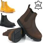 MENS DEALER LEATHER SAFETY STEEL TOE CAP WORK BOOTS CHELSEA SLIP ON SHOES SIZE