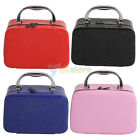 Fashionable Mirror Zip Cosmetic Case Makeup Bags Handle Bag PU Leather 5 Colors