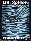 50 x QUALITY MEDIUM SILVER ZEBRA ANIMAL PRINT CARRIER BAGS 30cm x 24cm UK SELLER