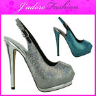 NEW LADIES HIGH HEEL STILETTO SEXY COURT PEEP TOE SLINGBACK SANDALS SHOES UK 3-8